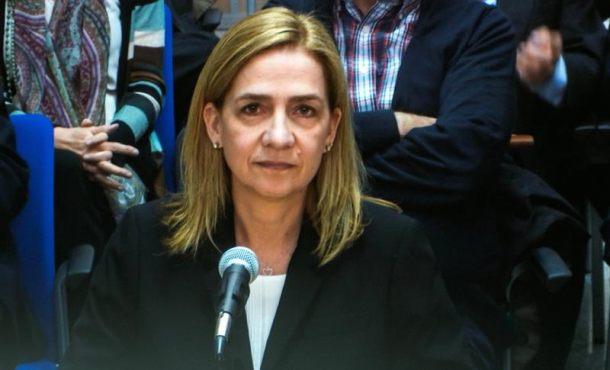Imagen de la infanta Cristina a través del monitor de la sala de prensa de la Escuela Balear de la Administración Pública (EBAP), donde hoy continúa el juicio por el caso Nóos. EFE