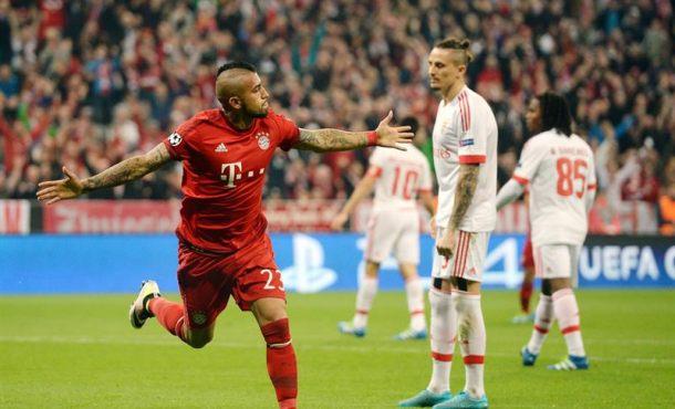 Liga de Campeones: El Bayern Múnich derrota a Benfica con un gol del chileno Arturo Vidal