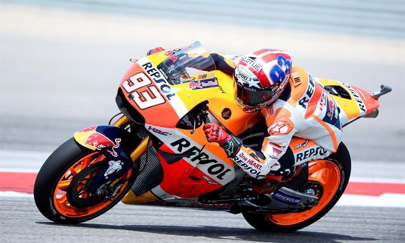 El español Marc Márquez ya es sólido líder en MotoGP aunque su Honda no va como quiere