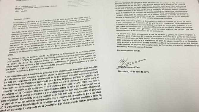 Puigdemont dice a Montoro que el objetivo de déficit asignado al gobierno separatista es inasumible