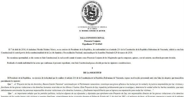 Tribunal Supremo de Venezuela declara inconstitucional la Ley de Amnistía de presos políticos