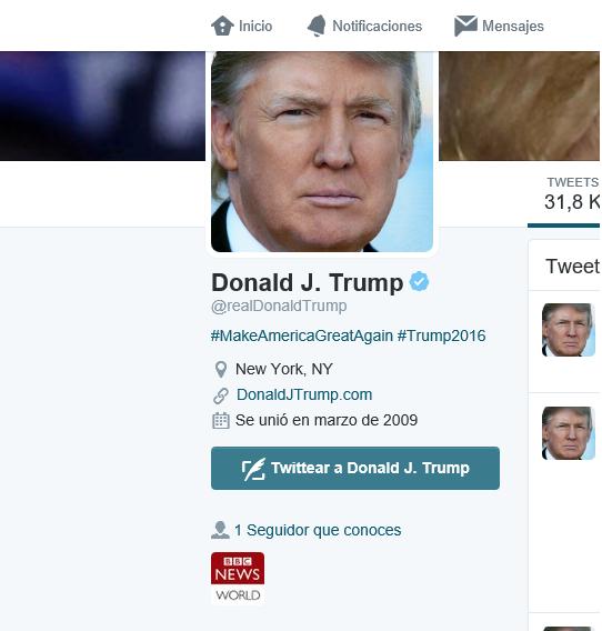 Captura pantalla cuenta Donald Trump sin PP, PSOE, Sánchez y Rajoy