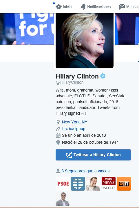 Captura pantalla cuenta de Hillary Clinton con seguidores como PP, PSOE, Sánchez y Rajoy