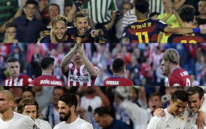 A 1 punto del líder FC Barsa y el segundo Atlético, Madrid debe ganar y que empaten Barsa y Atlético