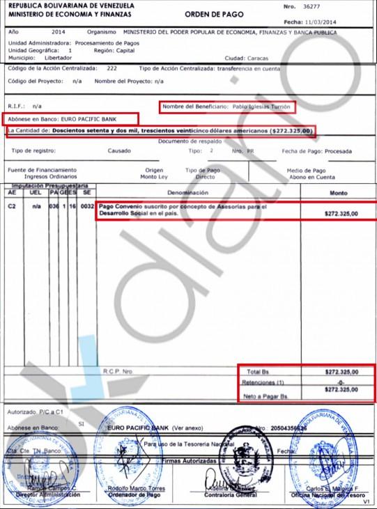 La orden de pago que emitieron las autoridades venezolanas para poner en marcha la transferencia. Ok Diario