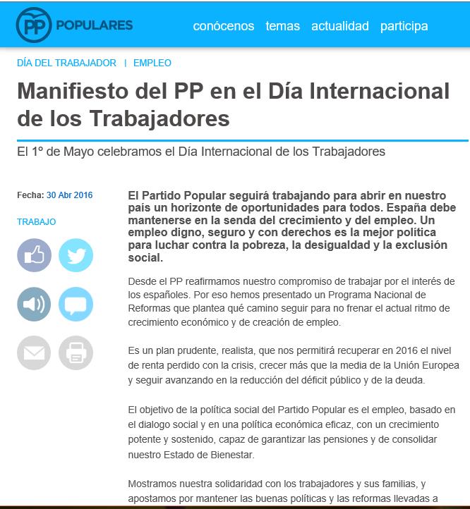 Manifiesto del PP en el Día Internacional de los Trabajadores