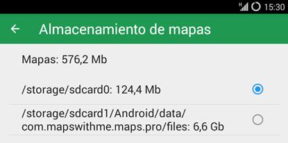 Otro ejemplo una app de mapas para la configuración en un smartphone Android