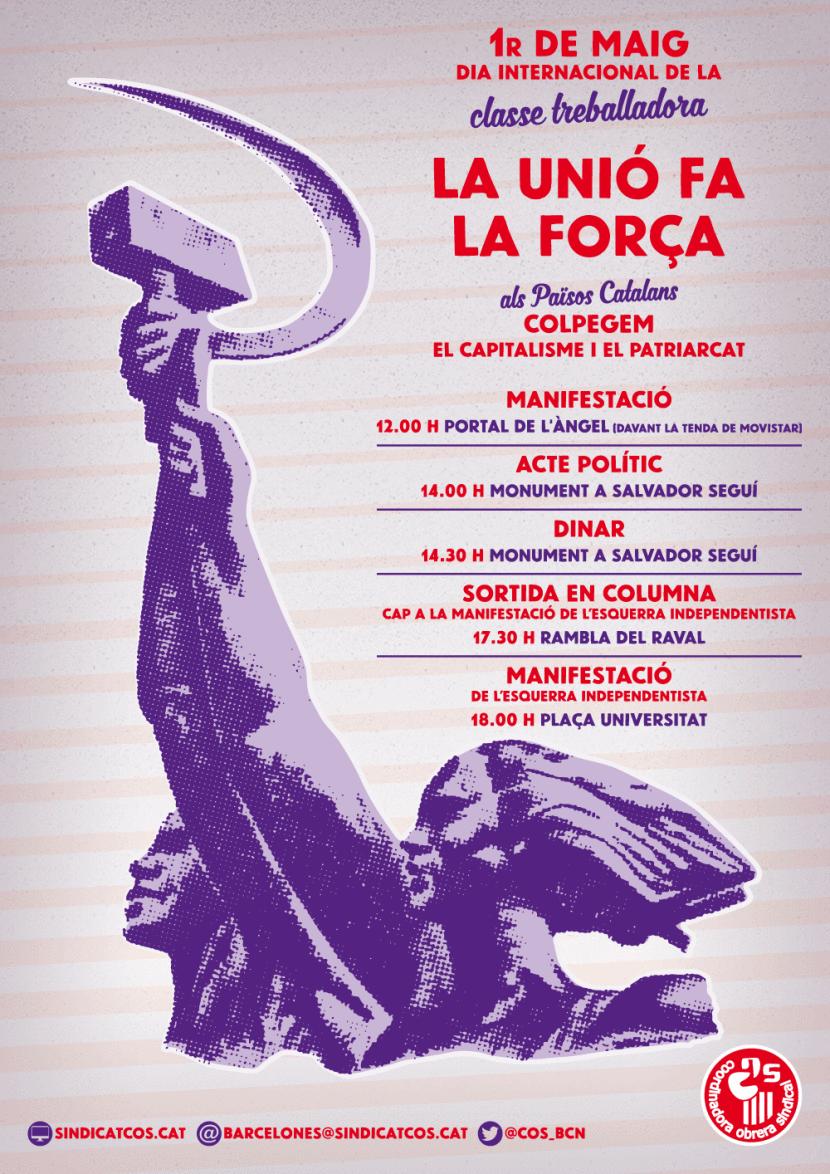 manifiesto convocatoria de la marcha extremista de 1 de mayo 2016 en Barcelona de cup y extremistas comunistas y podemitas