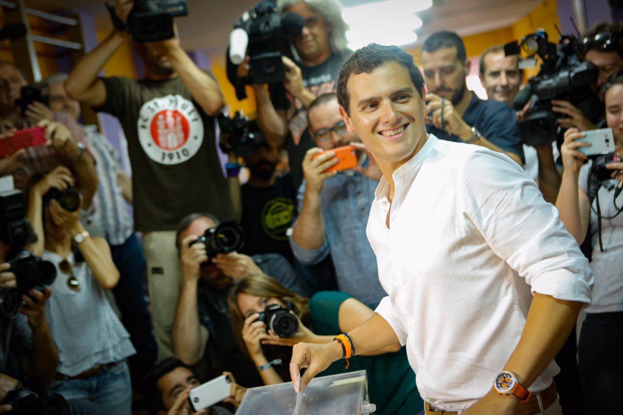 El presidente de Ciutadans C's, Albert Rivera Díaz hoy durante la votación. lasvocesdelpueblo