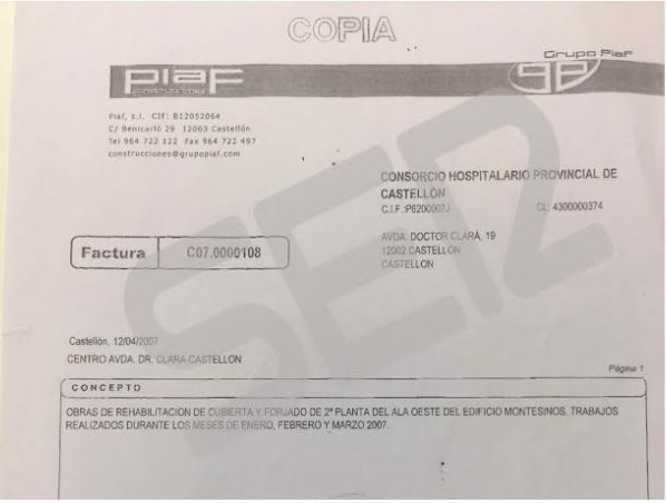 Valencia denuncia con facturas como el PP robó el dinero en la Sanidad entre 2003 y 2015