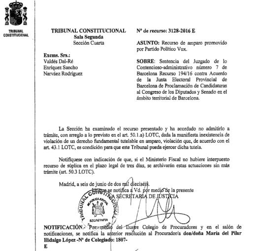 Rechazo del TC al recurso de amparo de VOX sobre su candidatura en Barcelona