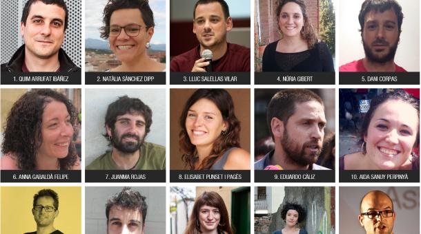 Algunos de los nuevos 15 miembros del nuevo secretariado nacional de CUP con Quim Arrufat a la cabeza (extrema izquierda superior del cartel) en una captura pantalla de la página web de CUP. lasvocesdelpueblo