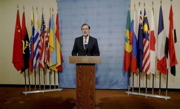 El  presidente del Gobierno, Mariano Rajoy, durante la rueda de prensa ofrecida tras el Consejo de Seguridad de la ONU en donde se han aprobado medidas para combatir la trata de personas, especialmente mujeres y niñas, en situaciones de conflicto y de terrorismo. Efe.