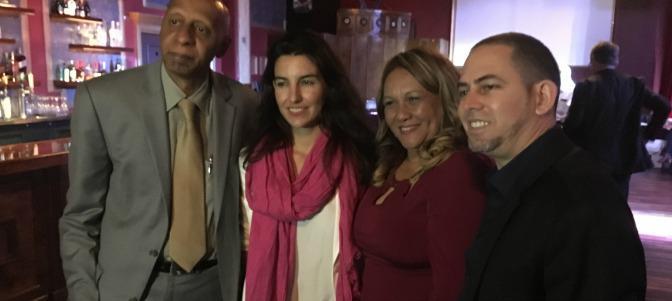 La presidenta provincial de VOX Madrid, Rocio Monasterio  (segunda posición de izquierda a la derecha) junto a la disidencia cubana en Estados Unidos, durante el viaje. Lasvocesdelpueblo.