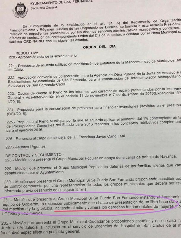 Moción presentada porel grupo municipal San Fernando Sí Se Puede