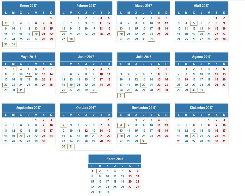 Calendario fiscal de la Agencia Tributaria del Reino de España 2017 del autónomo y la Pyme y grandes Empresas. lasvocesdelpueblo