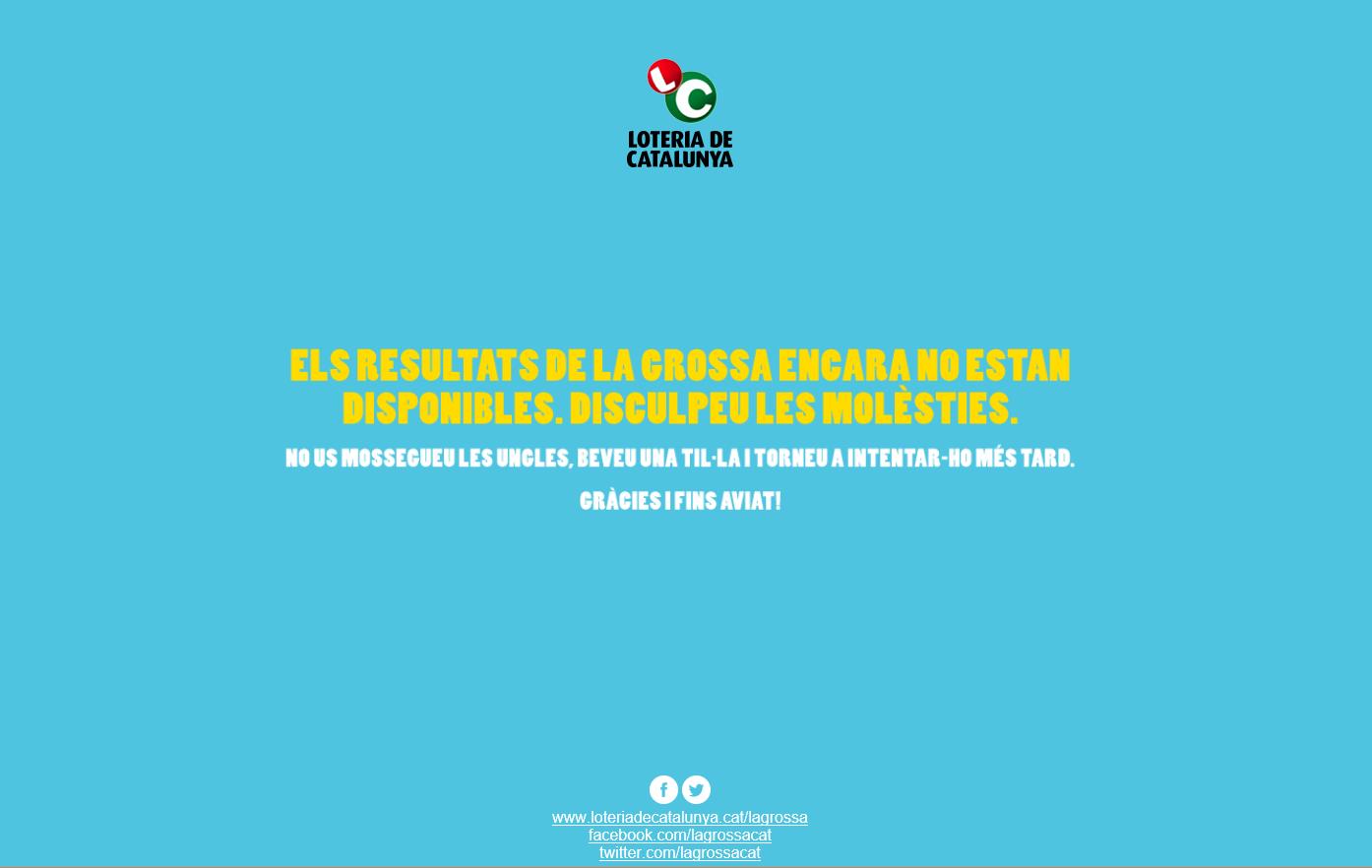 Captura pantalla del mensaje de error de la pagina web de Loteria de Cataluña vacío de contenido, ni na. Lasvocesdelpueblo.