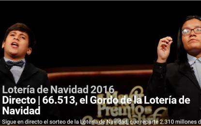 66.513, Gordo de la Lotería de Navidad 2016 vendido todo en la capital de España (Madrid)