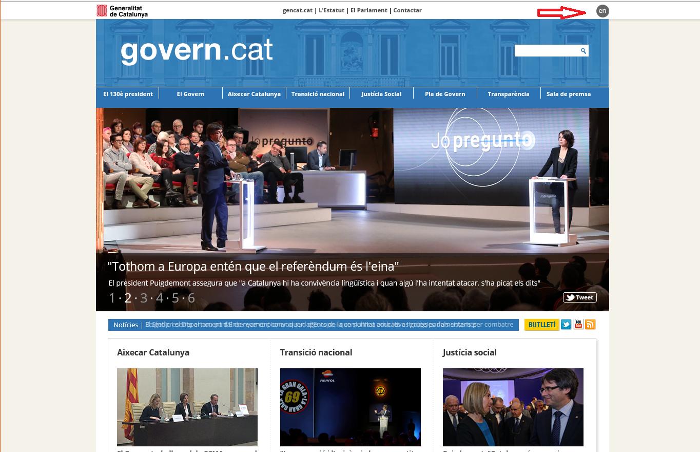 Captura pantalla de la portada de la página web del Gobierno de la Generalidad de Cataluña, hoy lunes 23 de enero de 2017. Ahí, el gobierno catalán ofrece solo dos opciones: el catalán o el inglés a los visitantes; absolutamente nada en español. Lasvocesdelpueblo.