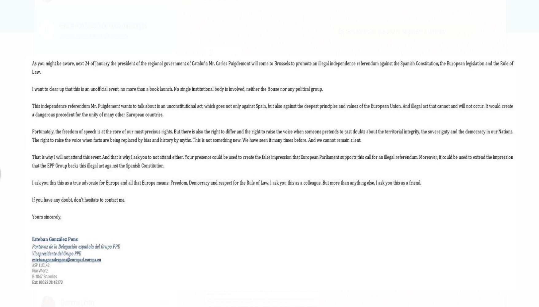Carta de esteban González Pons a los populares europeus sobre la conferencia de Puigdemont. lasvocesdelpueblo