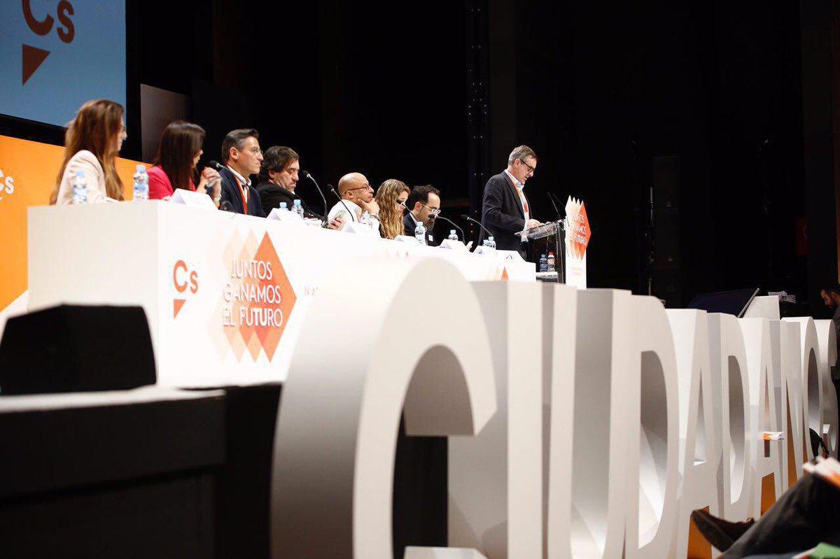 Cargos de Ciudadanos durante la IV Asamblea General del partido que se celebra en Teatro Nuevo Coslada, en Coslada (Madrid), este sábado 4 de febro de 2017. Lasvocesdelpueblo.
