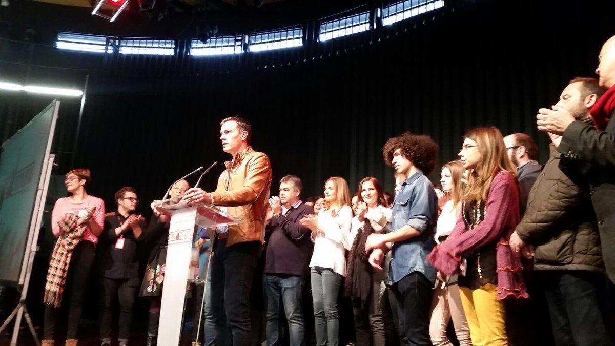 El ex líde y candidato al liderar el PSOE, Pedro Sánchez, hoy, sábado 4 de febrero de 2017 en Zaragoza, durante un acto de campaña para las primarias del PSOE. Lasvocesdelpueblo.