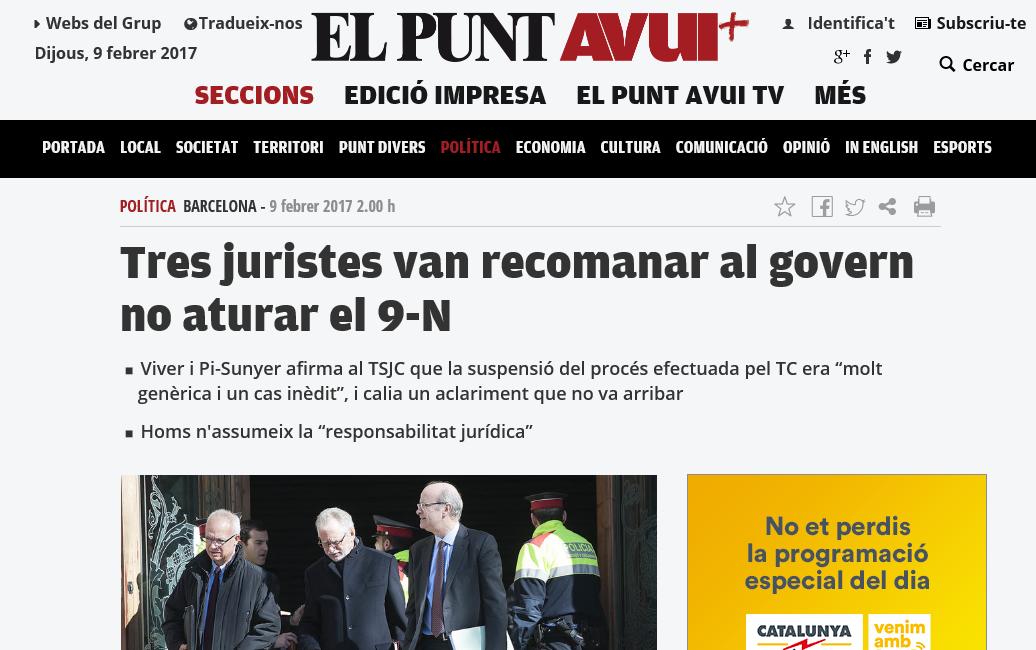 Tres juristas recomendaron al gobierno de Artur no parar el 9N, titula el diaria proseparatismo 'El Punto Hoy'. lasvocesdelpueblo
