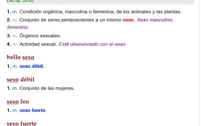 """Actualización del Diccionario de la Lengua Española: """"Sexo débil para mujeres y sexo fuerte para hombres"""""""
