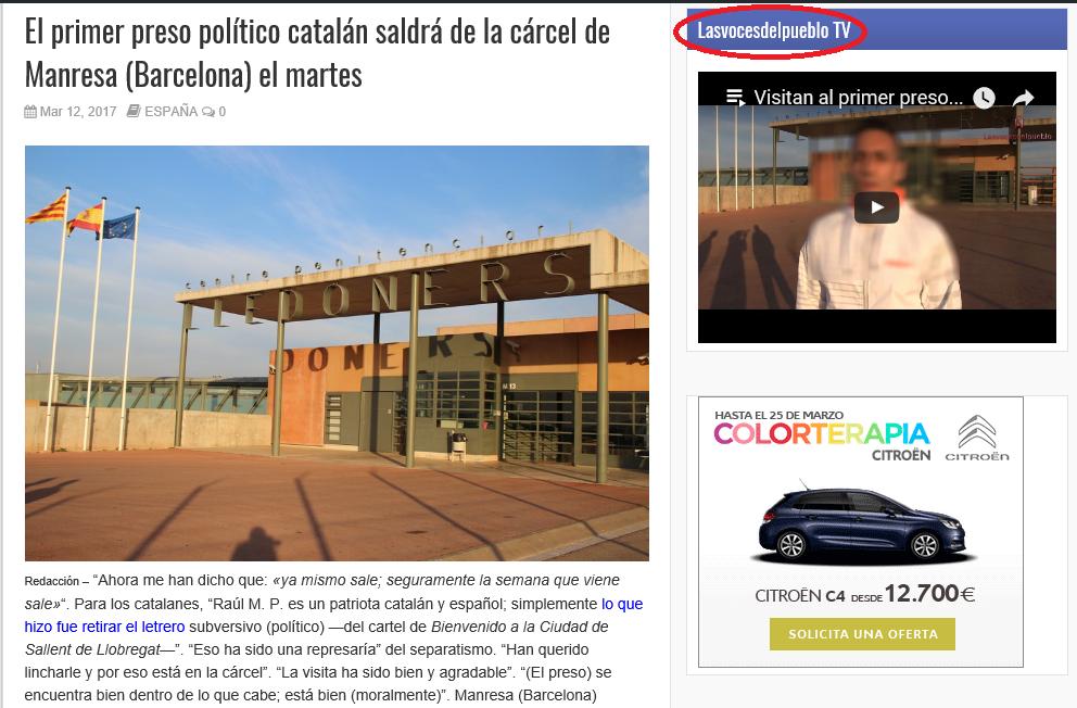 """Indignación en Cataluña por la censura de una noticia sobre el """"primer preso político catalán"""""""