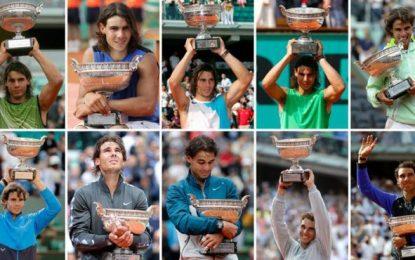 10 coronas, número redondo que Roland Garros celebra con un homenaje al español Rafael Nadal