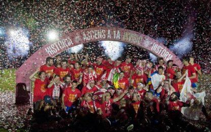 El Gerona FC celebra su histórico ascenso la máxima categoría por todo lo alto en Gerona