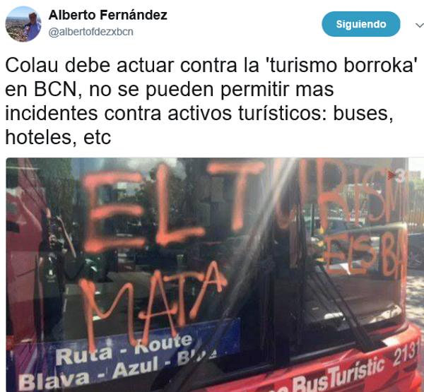 La escuadra de asalto de CUP, como una banda terrorista, reivindica el ataque contra un bus