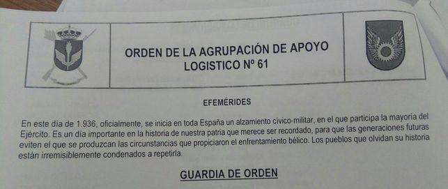 Una orden del cuartel de Ejército español conmemora la fecha del 18 de julio de 1936