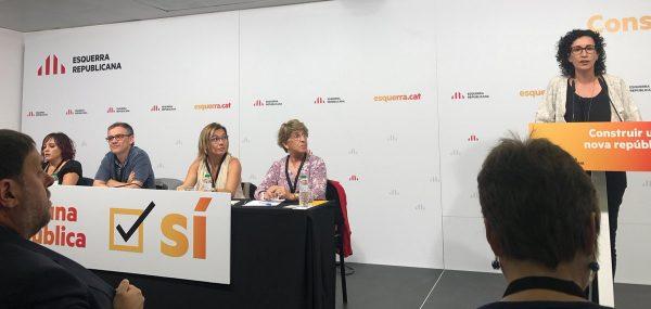 """ERC fija el referéndum del 1-O como """"respuesta democrática"""" al Estado """"amenazante"""" español"""