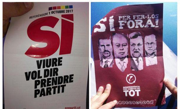 La Guardia Civil interviene más de 1,3 millones de carteles del «Sí» al 1-O de CUP y Generalidad
