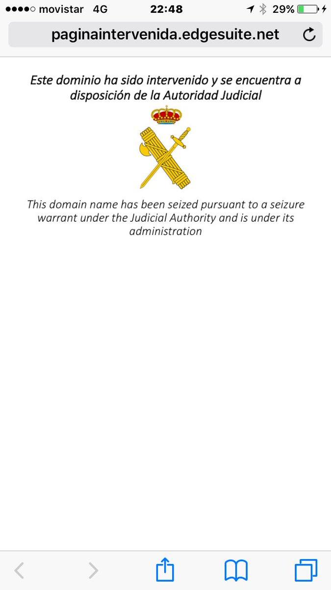 La Guardia Civil bloquea otra página web separatista de ANC, abierta por segunda vez