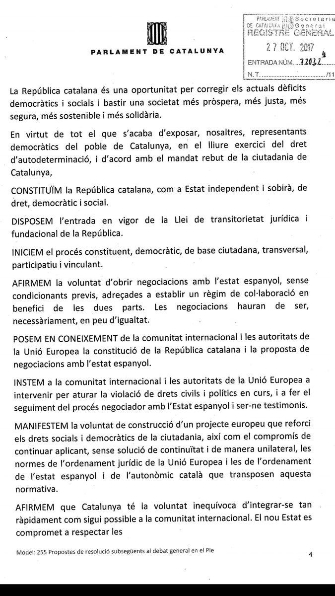 El separatismo hace la Declaración Unilateral de Independencia de Cataluña (DUI)
