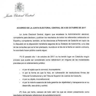 """La JEC en una carta: """"El 1-O no es un ningún referéndum"""""""