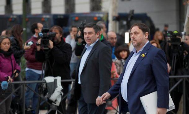Junqueras (ERC) llega a la Audiencia Nacional acusado de rebelión, sedición y malversación