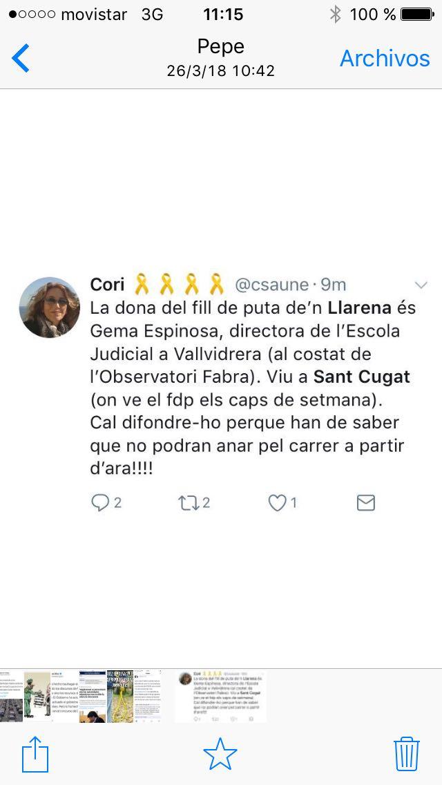El fascismo de la República señala a la familia del Juez Llarena en Cataluña