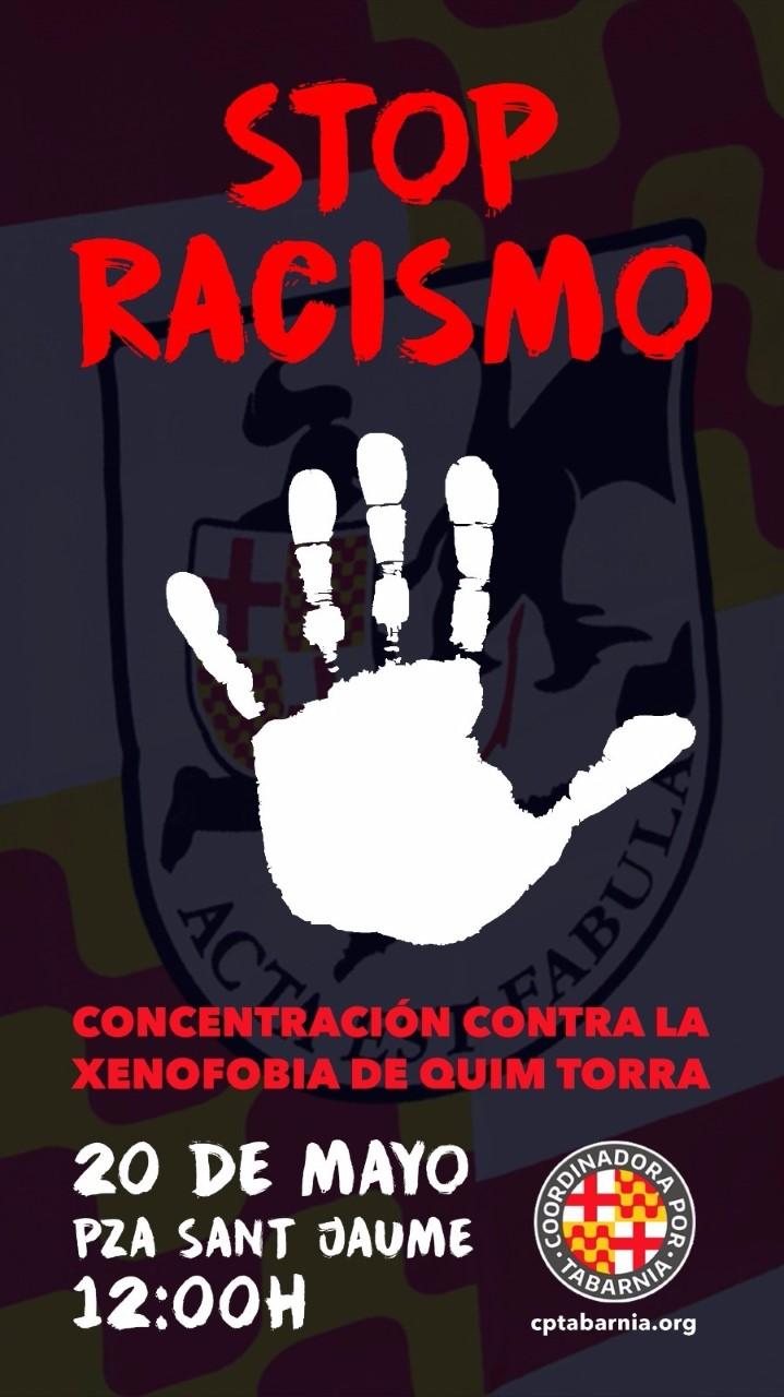 """Cartel concentración contra la """"xenofobia de Quim Torra"""" e independentismo del 20-M"""