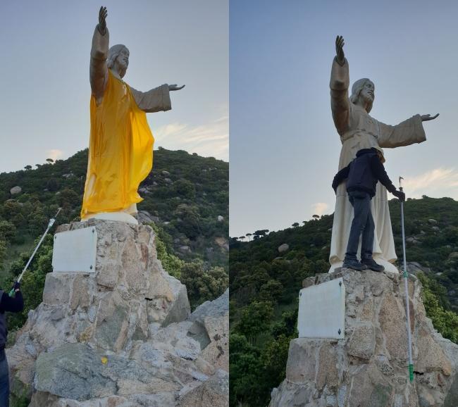 Liberado, el «Sagrado Corazón de Jesús» profanado por el independentismo en Teià (Barcelona)