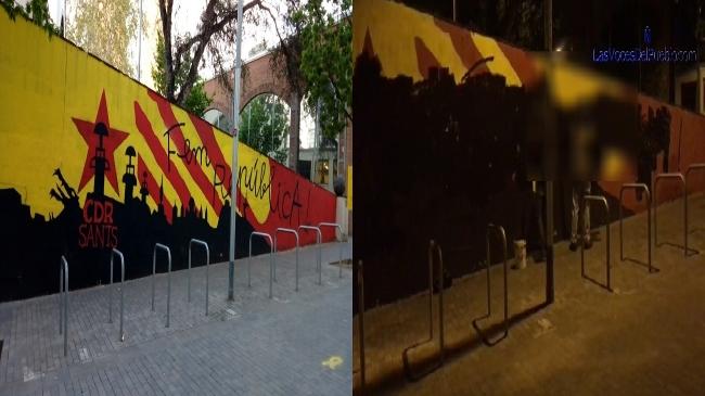 Tumban los murales de los neonazis en Sants y Sabadell y su Estelada en Sant Quirze