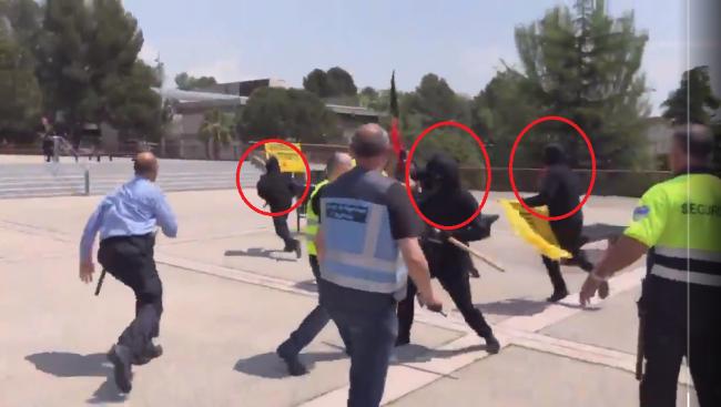 Encapuchados neonazis independentistas atacan con palos a los jóvenes españoles
