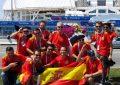 (Mundial 2018) Aficionados españoles posan ante el estadio a pocas horas de España-Portugal