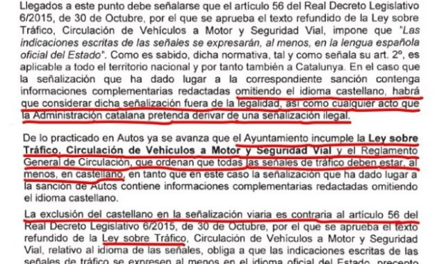 El abogado Óscar Granja consigue tumbar la multa porque la señal estaba en dialecto catalán