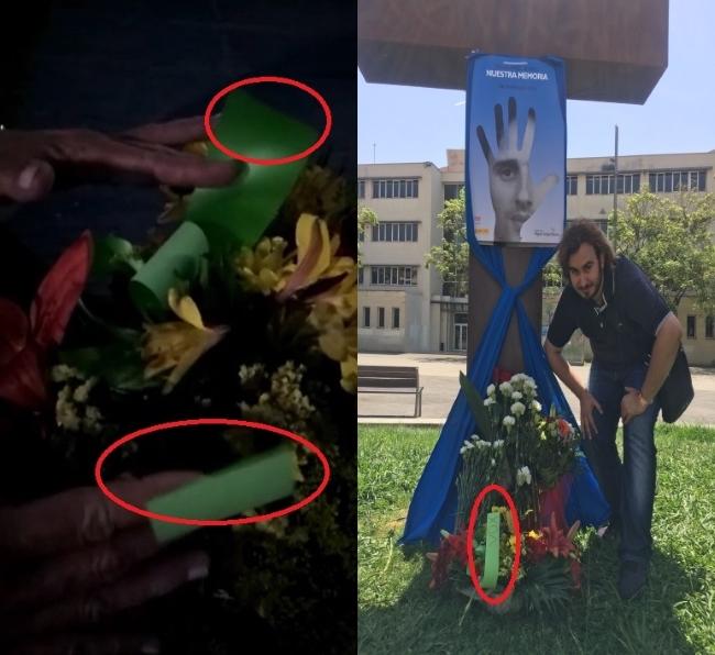 Sabotaje racista al monumento tras el homenaje a Miguel Angel Blanco en Mataró (Cataluña)