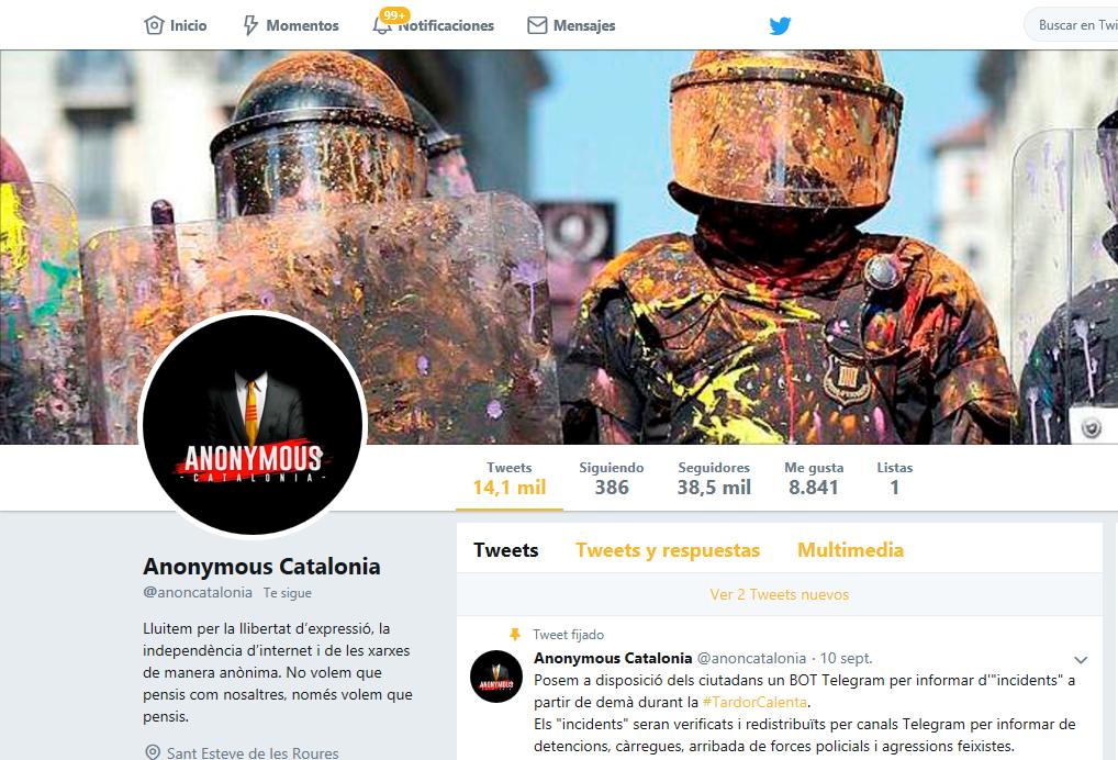 Cerrada la cuenta Twitter del independentismo que fomentaba odio hacia el pueblo español