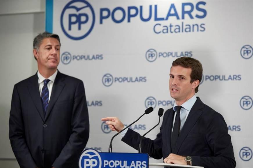 """Casado llama a """"reactivar"""" al PP en Cataluña contra el """"terrorismo"""" independentista"""