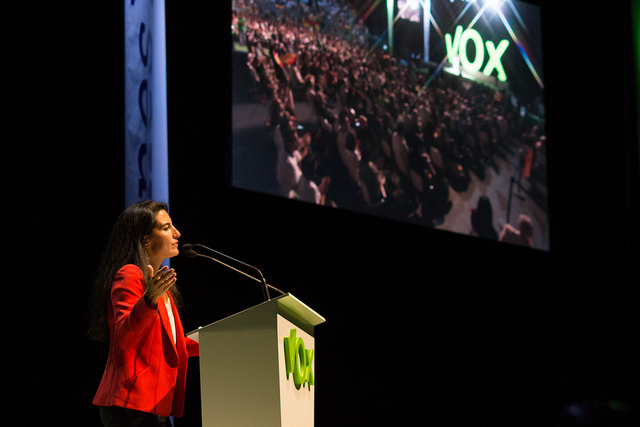 15 SEPTIEMBRE, 2018 | Asociaciones pro-familia muestran su indignación por el apoyo de la Ministra de Asuntos Sociales  a los derechos del colectivo LGTBi+ PALACIO-DE-VISTALEGRE-MADRID-ESPA%C3%91A-07.2018.-Vista-de-la-presidenta-de-VOX-Madrid-Rocio-Monasterio-este-domingo-7-de-octubre-de-2018.-Lasvocesdelpueblo